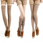 Female Enlarged Boot Socks Soft Cotton Over Knee Stocking Khaki_One size / length 74 cm