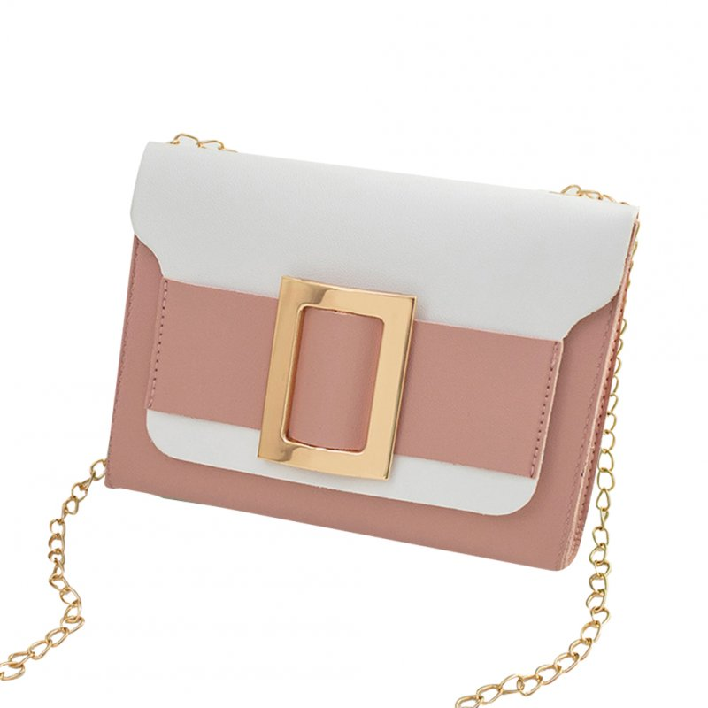 Female Fashion Color-matching Satchel Sweet Casual for Phone Card Organize Pink