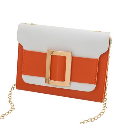 Female Fashion Color-matching Satchel Sweet Casual for Phone Card Organize Orange