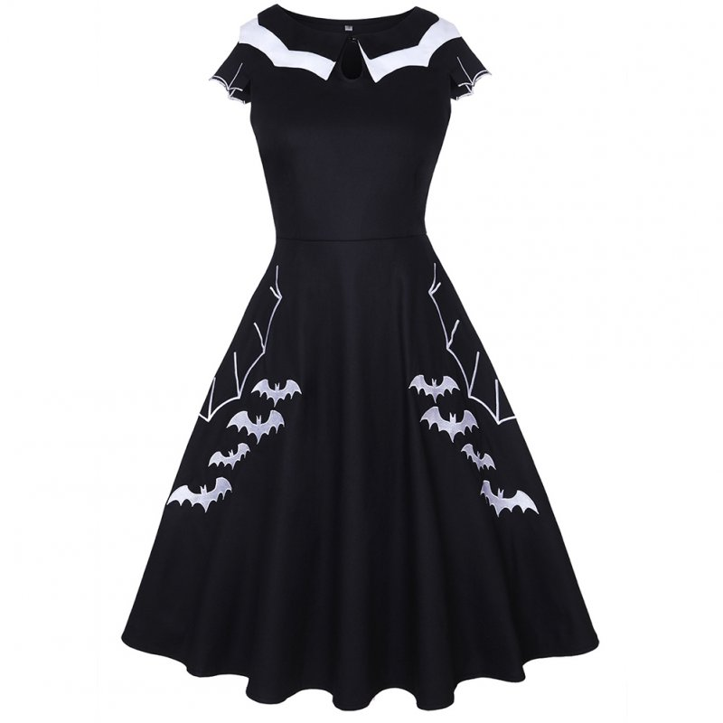 Female Fashion Dress Bat Embroidery Short Sleeve Round Collar Dress  black_XL