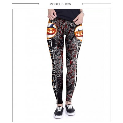 Female Halloween Elements Printing Long Trousers Slim Cosplaying Costume  WKDK1018_S