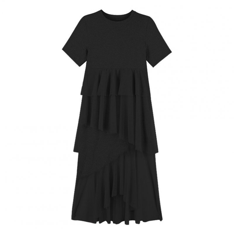 Female Irregular Dress Gauze Short Sleeve Sweet Medium Long Fringed Dress  black_XL