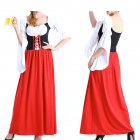 Female Maid Cosplay Dress Costume Retro Mandarin Sleeve Long Dress for Halloween Beer Festival  red_M