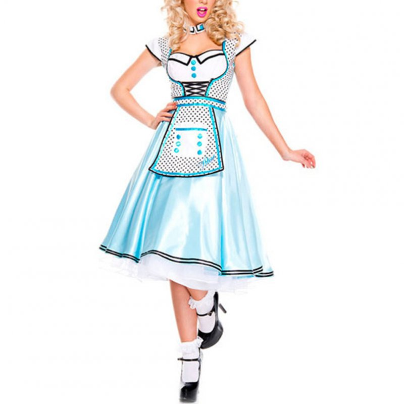 Female Maid Costume Dress Blue Dress for Cosplaying Halloween Fairy Tale Characters blue_One size