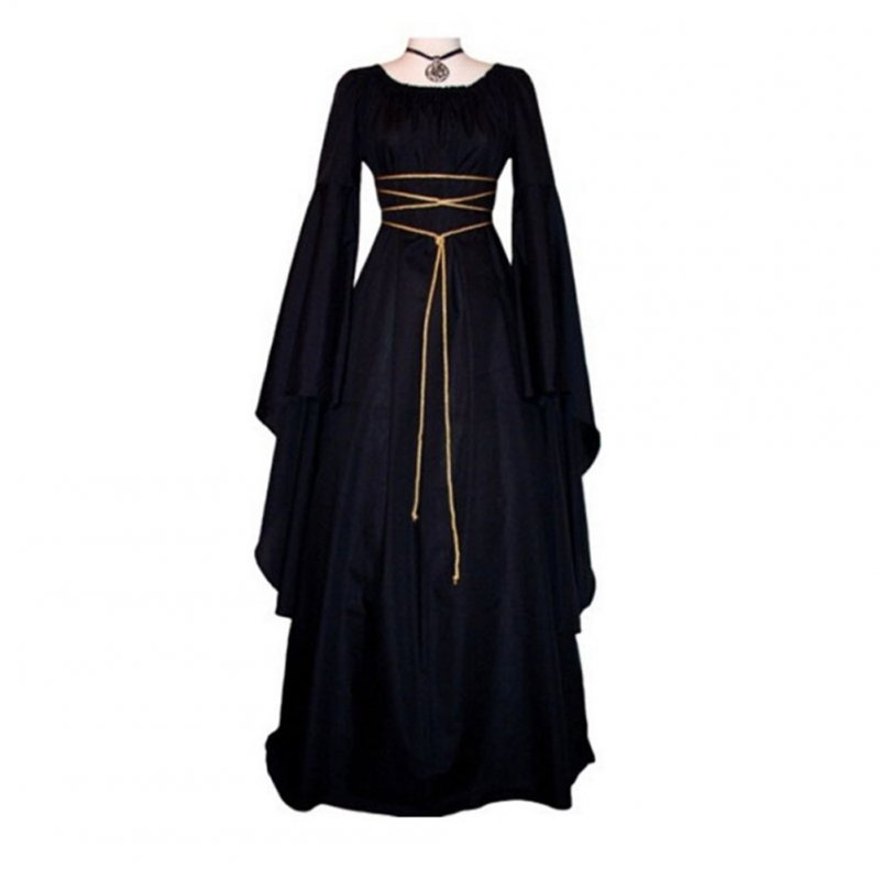 Female Royal Style Long Dress Long Sleeve Round Collar Irregular Cosplay Dress for Halloween Party black_L