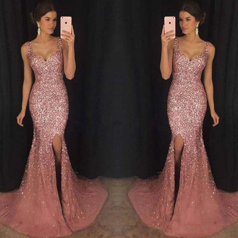 Female Sequins Fishtail Full Dress Deep V Spliting Sling Long Evening Gown  Pink_M