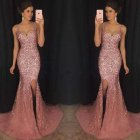 Female Sequins Fishtail Full Dress Deep V Spliting Sling Long Evening Gown  Pink S