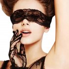 Female Sexy Black Lace Eye Mask + Gloves Sexy Lingerie Accessories Set black_free size