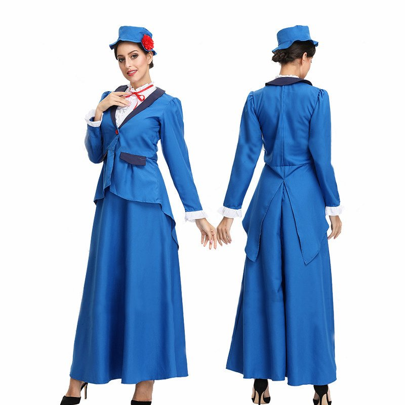 Female Stewardesses Uniform Cosplay Costume for Beer Festival Halloween blue_M