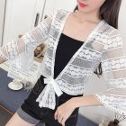 Female Super-thin Cardigan Lace Short Solid Color Casual Coat  White No. 1_Wear code 80-130 kg