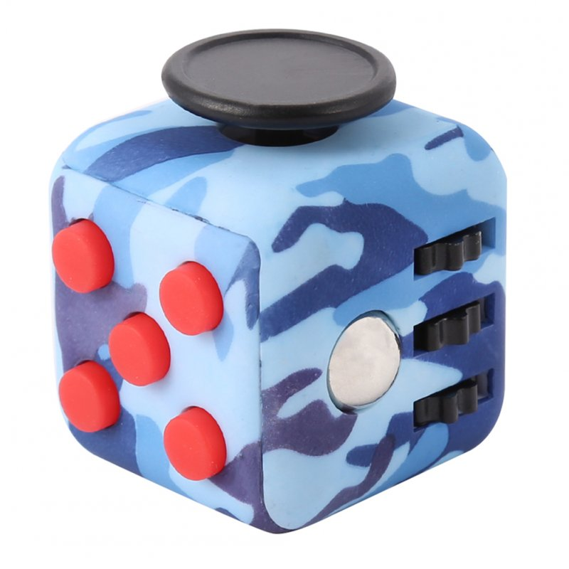 [US Direct] Fidget Cube Toy Relieve Stress, Anxiety and Boredom for Children and Adults Camouflage Blue