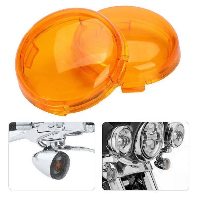 2pcs Motorcycle Turn Signals Light Lens Cover For Touring Road King Sportster 883 1200 Iron XL Softail Heritage yellow