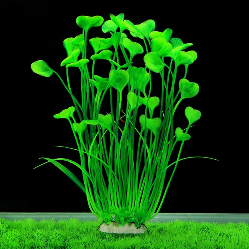 Fish Tank Artificial Heart-shaped Plastic Plant Ornament Aquarium Decor Colorful Water Grass green