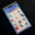 Fishing Baits Set 12 Pcs Artificial Insect Baits Imitation Floating Flies Fishing Lures with Fishhook Random Color
