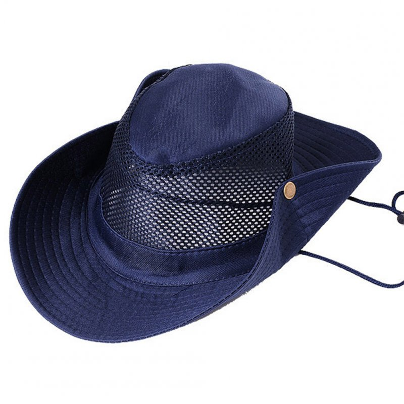 Fishing Climbing Hat Outdoor Camping Sunblock Mesh Hat with Big Brim Camouflage Hat Travel Sun Hat Bucket Hat Navy_M