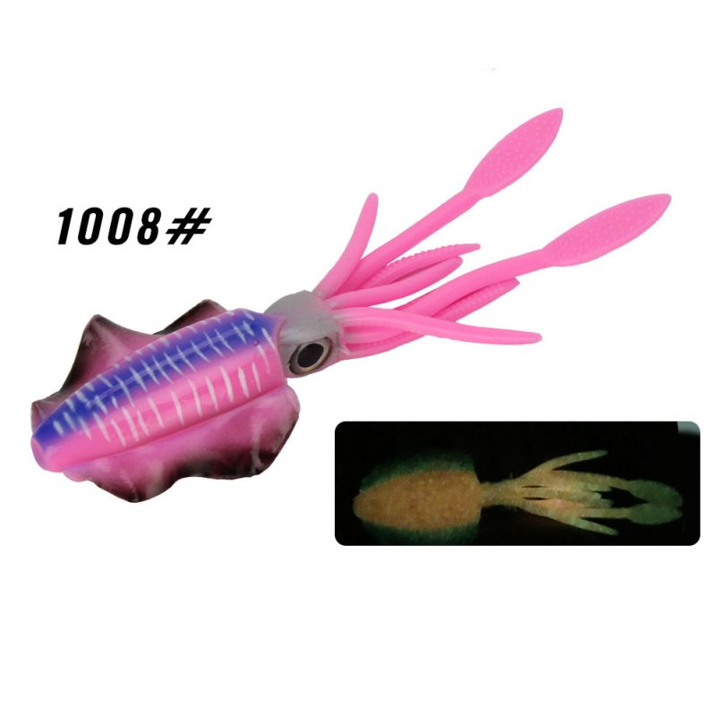 Fishing Lure Double Hook Squid Bait Glow-in-the-dark Baits 15cm60g Simulated False Bait Deep Sea Soft Bait 1008# Body_15cm (octopus bait)