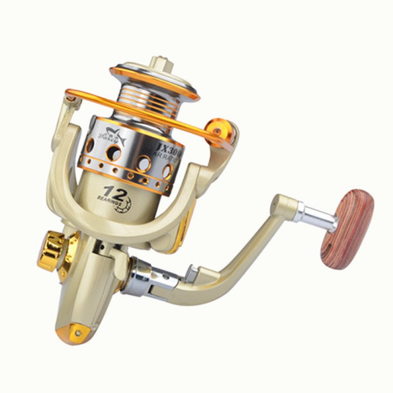 Fishing Reel Spinning Wheel Reel All-metal Wire Cup Thickened Line Fishing Equipment Yellow model 2000