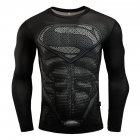 Fitness Compression Shirt Men Anime Printing Bodybuilding Long Sleeve Crossfit 3D Superman Punisher T Shirt  black superman_XXL