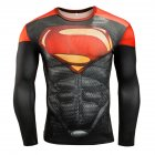 Fitness Compression Shirt Men Anime Printing Bodybuilding Long Sleeve Crossfit 3D Superman Punisher T Shirt  Superman A_XL