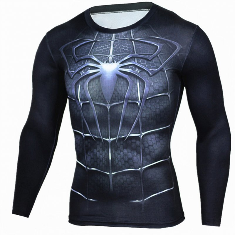 Fitness Compression Shirt Men Anime Printing Bodybuilding Long Sleeve Crossfit 3D Superman Punisher T Shirt  black spider_XL