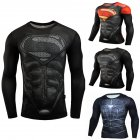 Fitness Compression Shirt Men Anime Printing Bodybuilding Long Sleeve Crossfit 3D Superman Punisher T Shirt  black superman_XL