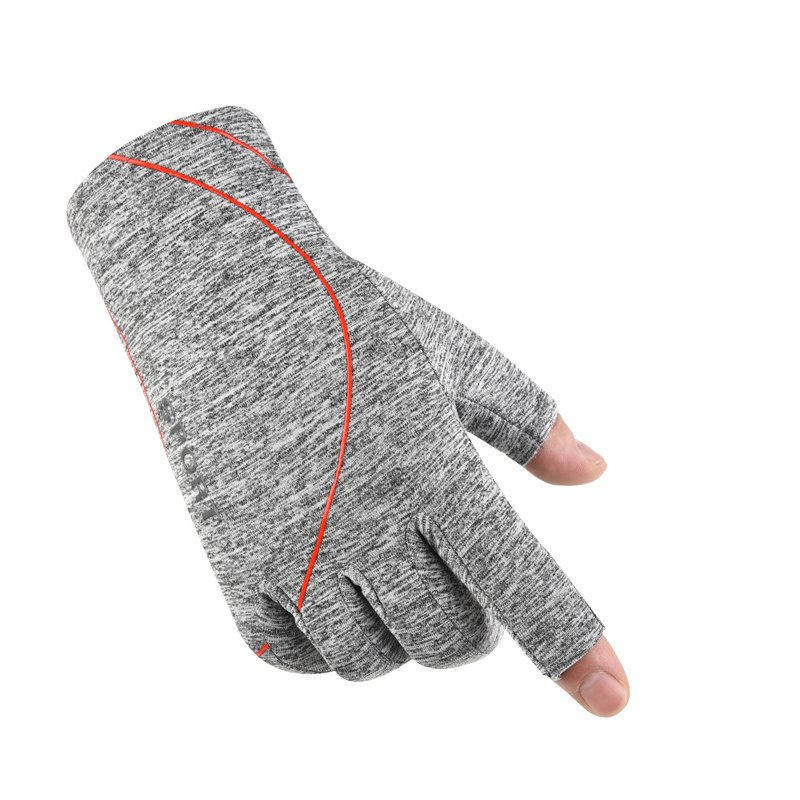 Fleece Gloves Autumn Winter Warm Gloves Elastic Non-slip Gloves With Exposed Two Fingers Two-finger light gray_One size