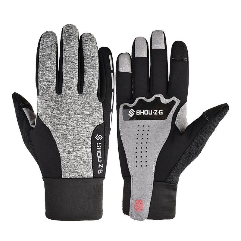 Fleece Gloves Autumn Winter Warm Gloves Touch screen Waterproof Elastic Non-slip Gloves for cycling  gray_L