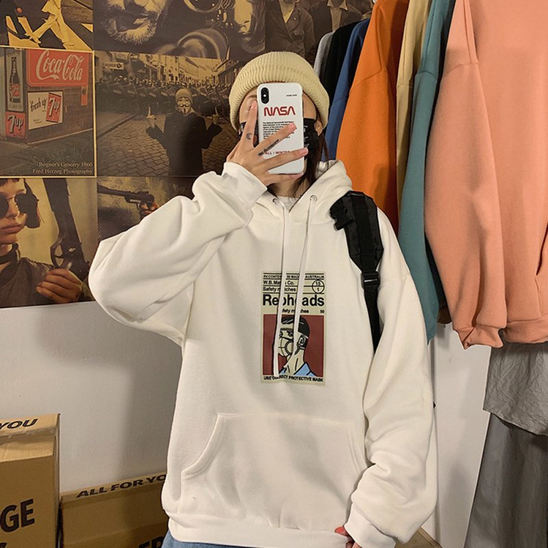 Fleece Hoodies Sweater Thicken Hooded Sweatshirts Casual Loose Pullover for Man white_XL