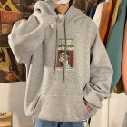 Fleece Hoodies Sweater Thicken Hooded Sweatshirts Casual Loose Pullover for Man gray_L