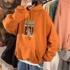 Fleece Hoodies Sweater Thicken Hooded Sweatshirts Casual Loose Pullover for Man Orange_XL