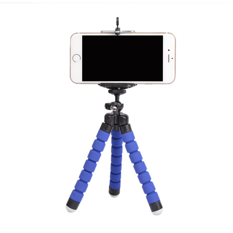 Flexible Portable Adjustable Tripod Mini Universal Octopus Leg Style Bluetooth Selfie Stick  blue_With Bluetooth remote control