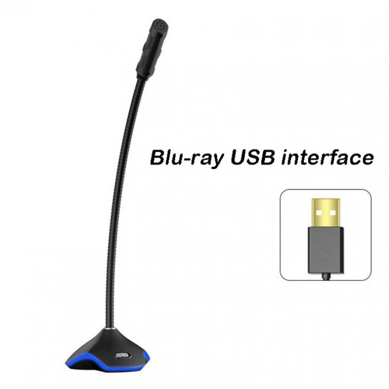 Flexible USB Condenser Microphone For Computer With Led Light RGB Tuning black_USB Blu-ray Basic Edition (USB interface)