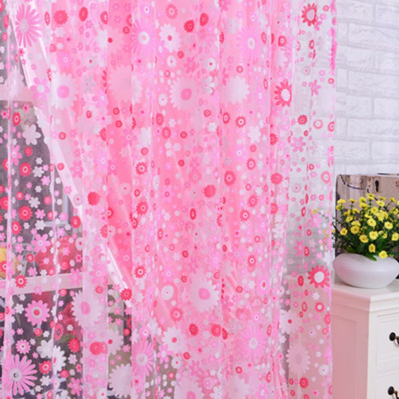 Floral Offset Printing Window Curtain Tulle for Bedroom Living Balcony Decorative Shading Pink_W 140cm * H 240cm