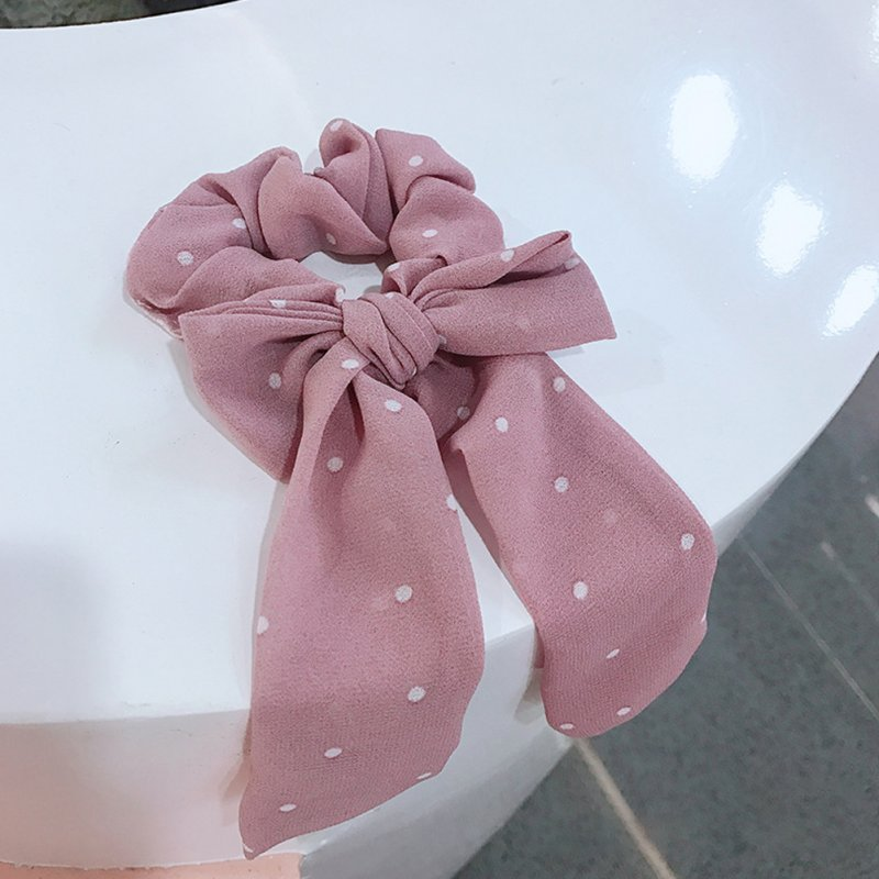 Floral Print Hairbands Spring Summer Women Cloth Fabric Stretchy Hair Ring Fashion Sports Headwear Hair Ties Hair Accessories 4# pink white spots