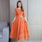 Floral Printed Dress of Middle Sleeves and Round Neck Woman Waist tight Leisure Dress Yellow M