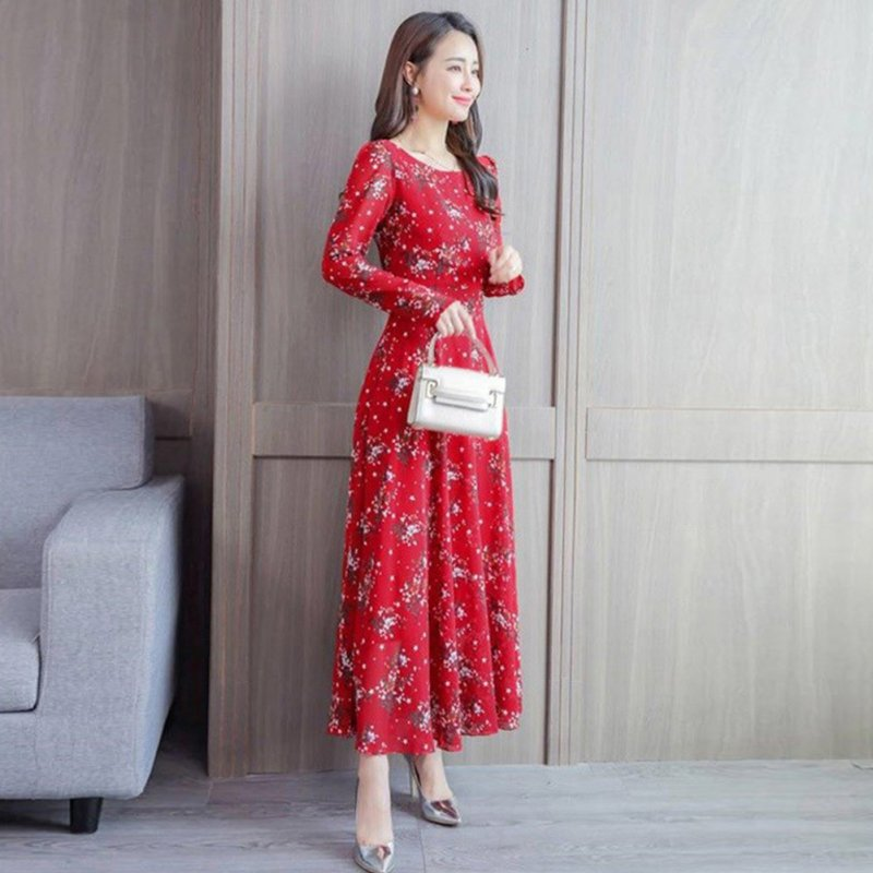 Floral Printed Dress of Middle Sleeves and Round Neck Woman Waist-tight Leisure Dress Red_M