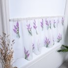 Flower Embroidery Short Curtain Pastoral Shade Kitchen Curtains Half Curtain Short Panel Drapes purple_100*50CM wear rod