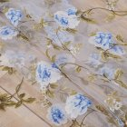 Flower Printing Window Curtain Tulle for Living Room Bedroom Drapes Decor blue 1 meter wide x 2 meters high