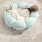 Flower Shape Cat Bed Short Plush Soft Cat House Winter Pet Dog Cushion Mats Nest Light green + light pink_ 40cm