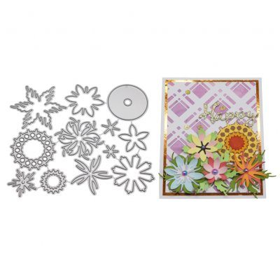 Flowers Background Diy Etching Carbon Steel Cutting Dies For Scrapbook Invitation Greeting Card Decor 2100122