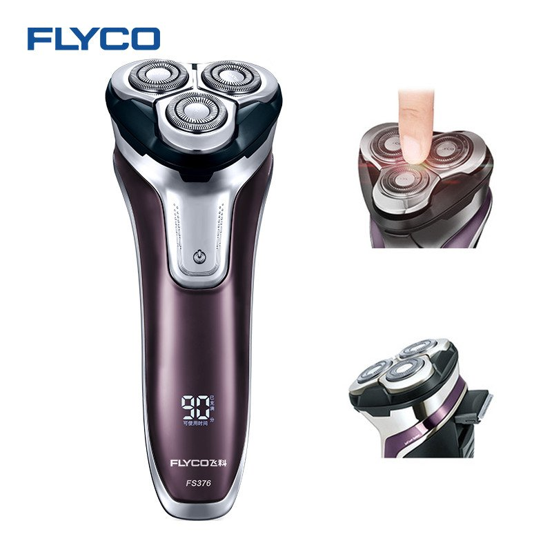 Flyco 3D Floating Head Rechargeable Portable Body Washable Led Light Fast Charge Triple Blade Barbeador  purple_British regulatory