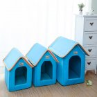 Foldable House Shape Pet Nest with Mat for Small Dog Teddy Poodle Puppy Cats blue_L
