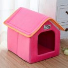 Foldable House Shape Pet Nest with Mat for Small Dog Teddy Poodle Puppy Cats red_M