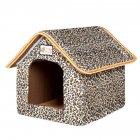 Foldable House Shape Pet Nest with Mat for Small Dog Teddy Poodle Puppy Cats Leopard M