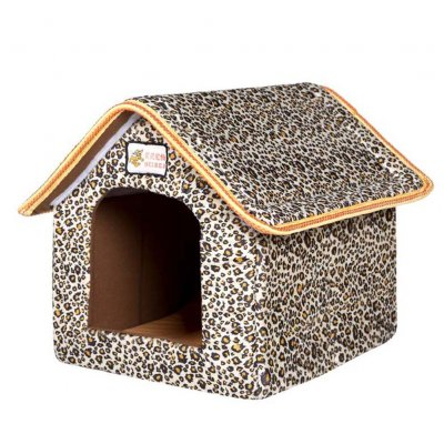 Foldable House Shape Pet Nest with Mat for Small Dog Teddy Poodle Puppy Cats Leopard_M