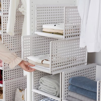 Foldable Stackable Drawer Type Storage Basket for Bedroom Wardrobe Closet Organize white_Short