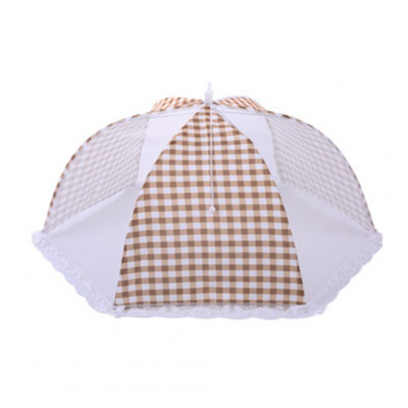 Foldable Umbrella Style Anti Fly Mosquito Table Food Fruit Cover   18 inch round beige plaid