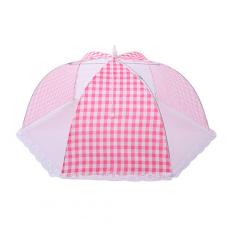 Foldable Umbrella Style Anti Fly Mosquito Table Food Fruit Cover   18 inch round pink plaid