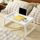 Folding Computer Desk Multifunction Laptop Lazy Table for Bed Leaning  creamy-white
