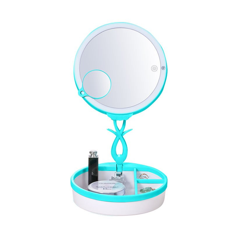 LED Folding Cosmetic Mirror Blue